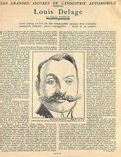 LOUIS DELAGE INDUSTRIE AUTOMOBILE ARTICLE PRESSE DE CHARLES FAROUX 1924