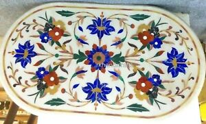24 x 48 Inches Flower Pattern Inlay Kitchen Table Marble Coffee Table Home Decor