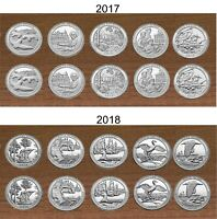 2017 & 2018 National Park Quarters  P & D Yearly Uncirculated coin sets 20 Coins