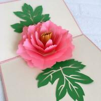 Handmade Pink Peony Flower Pop Up Greeting Card, 3D Cards, Pop Out Card