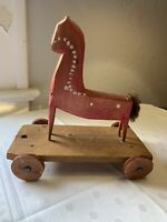 Old Antique Primitive Folk Art Wooden Horse Pull Toy Hand Carved Poland Unique