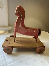 New listing Old Antique Primitive Folk Art Wooden Horse Pull Toy Hand Carved Poland Unique
