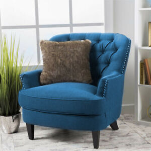 Luxury Linen Chair Armchair Sofa Seat w/ Wide Slanted Accent Back Wooden Legs