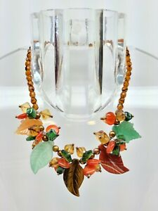 BEAUTIFUL MURANO GLASS AND SEMIPRECIOUS STONE FLOWER AND LEAVE NECKLACE OOAK 925