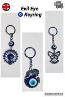 Lucky Turkish Blue Evil Eye Nazar Keyring Gift Silver Metal Lucky Charm Hanging