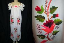 Vintage OAXACAN Mexican Hand Embroidered Cotton Dress Caftan WHITE Flowers