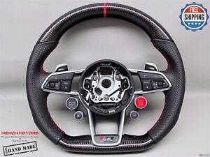 Audi R8 V10 4S TT TTR TT RS 8S Red Ring Perforate Small Carbon Steering Wheel V3