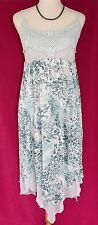 Kaktus Blue Gray Leopard Beaded Crochet Dress Sundress - S M Beads Pearls Empire
