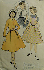 Vtg 50s Girl's Jumper Dress Bolero Unprinted Advance 6982 Size 14 Breast 32 W 26