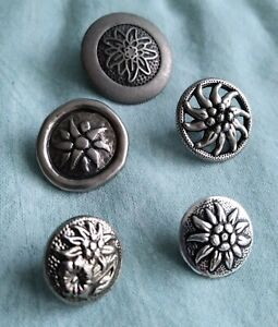 Lot of 5 Vintage Silver Tone Metal Edelweiss Buttons