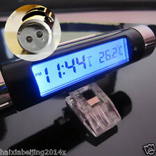 Car Air Vent Clip Blue LED Backlight Digital Display Thermometer Digital Clock