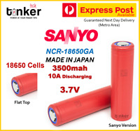 SANYO NCR 18650GA 3500mAh 3.7v FLAT TOP Lithium Li-Ion Rechargeable Battery