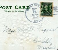 1908 WESTOVER MARYLAND POSTMARK to Crisfield Somerset Riggin Postcard Cover HN