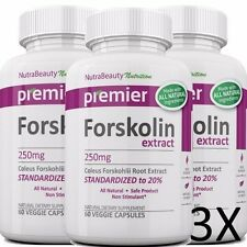 3X FORSKOLIN EXTRACT COLEUS FORSKOHLII 100% PURE Weight Loss 20% STANDARDIZED
