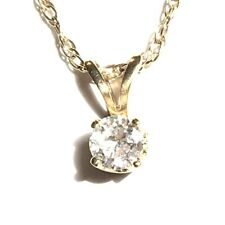 14K Yellow Gold - Diamond Solitaire - Pendant & Solid Gold Chain