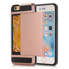 Hard Armor Case With Slide Card Slot Holder Case Cover For iphone 7 6S Plus 5S