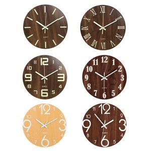 12'' Modern Large Luminous Quartz Wall Clock Non-ticking Glow In Dark Silent