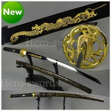Etching GOLD Dragon JAPANESE SAMURAI SWORD Real KATANA Full Tang BLACK BLADE