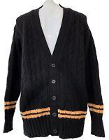 NEW & LINGWOOD MEN'S BLACK CASHMERE CARDIGAN SWEATER, L/XXL, $495