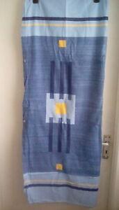 Blue Single 100% Cotton Flannelette Duvet Cover w Plain Blue Pillowcase USED
