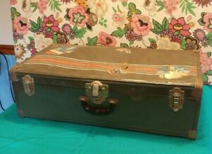 Vintage Metal Travel Steamer Trunk mid 1900's France Green with divider tray