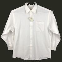 NWT Viyella Mens Solid Ivory Cotton Wool Blend Long Sleeve Dress Shirt Size 17.5
