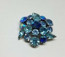 Karu Arke Inc. Pin Beautiful blue Aurora Boriales Rhinestones Signed