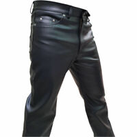 Men's Black Real Genuine Hide Leather Motorcycle Biker Jeans Trousers Gay fetish