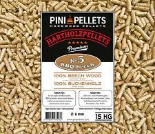 PINI Hartholzpellets 100% Buche № 5 BBQ Beech 15 Kg zum Grillen Räuchern Smoken