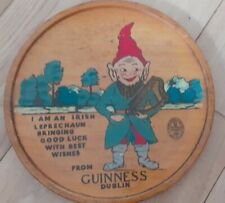 More details for vintage guinness wooden leprechaun advertising pub tray plaque - free p&p