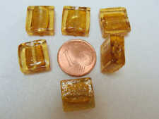 4 perles CARRE PLAT 20mm GRIS VERRE façon Murano feuille argentée bijoux