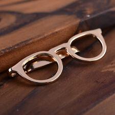 Alloy Gold Glasses Shape Tie Clip for Men Suits Necktie Clips Tie Bar Clasp Pin