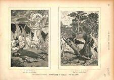Mort Roland/Combat Pinabel & Thierry /La Chevalerie de Léon Gautier GRAVURE 1883