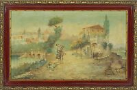 E3-060- RURAL LANDSCAPE. OIL ON CANVAS. ILLEGIBLE SIGNATURE. XIX CENTURY.