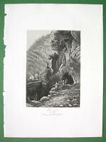 SWITZERLAND Swiss Alps Tete Noire - 1860s Engraving Antique Print