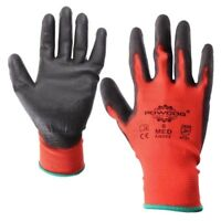 Red/Black PU Coated Safety Protective Work Gloves|S-2XL|Light Duty PPE|1Pair-48P
