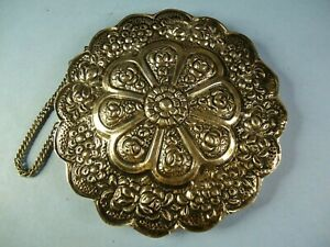 900 Coin Silver MIRROR Ornate Repousse Hanging Round LighFloral Scallop Hallmark