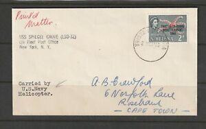 Tristan Da Cunha, 1963 Resettlement cover, 2d only, USS Spiegel Grove, Fleet Pos