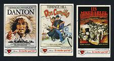 1984 Vache Qui Rit MOVIE CARD LOT x3 Rare Mini Posters LES MISERABLES, DANTON +