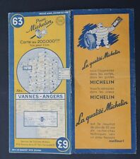 Carte MICHELIN old map n°63 VANNES ANGERS 1950 Guide Bibendum pneu tyre