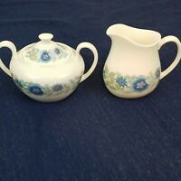wedgwood clementine sugar and creamer bone china Blue and Lavendar Flora England