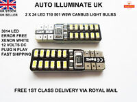 T10 501 W5W 24 LED NO ERROR CANBUS SMD XENON WHITE SIDE LIGHT BULBS LAMPS 12V
