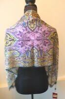 Etro NWT Black and Purple Silk Wool Classic Etro Print Scarf Wrap Retail $365