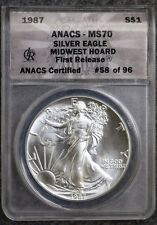 1987 American Silver Eagle Mid West Hoard ANACS MS70 First Release  - RARE