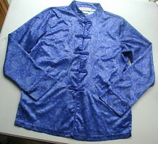 Girls Size L ~ American Girl Periwinkle Blue Satiny Asian Brocade Top Free Ship