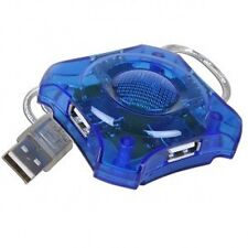 "4-Port USB Mini Hub with 18"" USB Cable (Translucent Blue) USED"