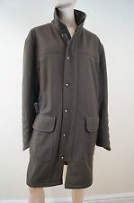 HUGO BOSS Men's Khaki Green Virgin Wool Blend Formal Winter Coat