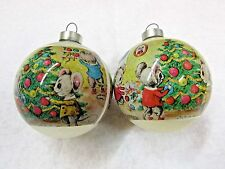 VINTAGE SET GLASS ORNAMENTS W/ PLASTIC WRAPPED FIGURAL, MICE DECORATING TREE!