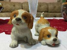 Vintage Homco Springer Spaniel Cute Matte Porcelain Dog Figurines #1407 Vgc