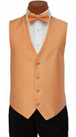 Medium Long Mens Orange Diamond Fullback Wedding Prom Formal Tuxedo Vest and Tie
